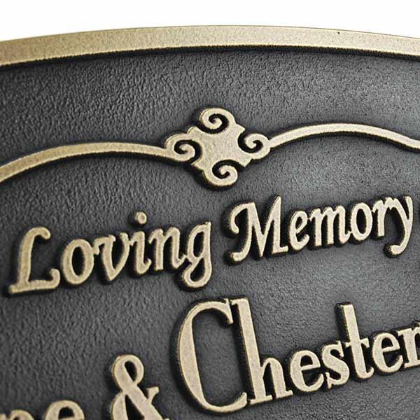 Oval Memorial Plaque - Brass Detail