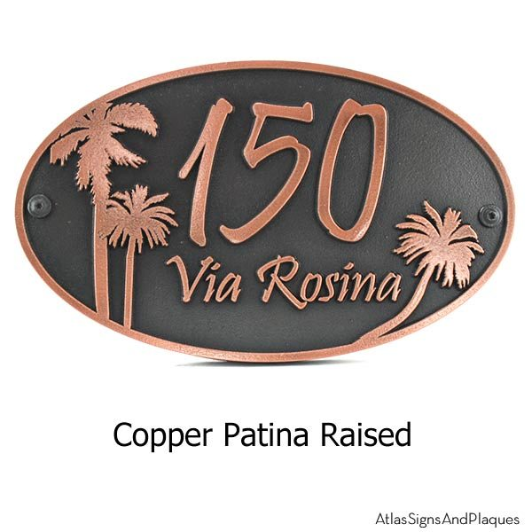 Palm Tree Address Plaque - Copper Shown with Optional T30 Screws