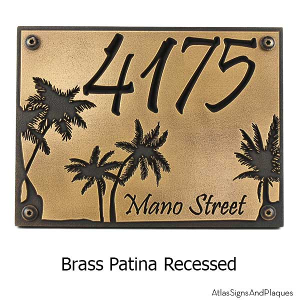 Palm Tree Address Plaque - Brass Shown with Optional T30 Screws