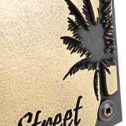 Palm Tree Address Plaque - Brass Detail Shown with Optional T30 Screws