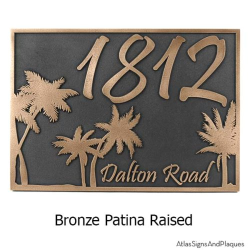 Palm Tree Address Plaque - Bronze