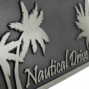 Palm Tree Address Plaque - Silver Nickel