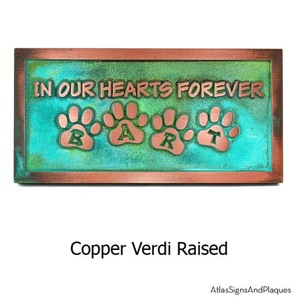 Pet Memorial Plaque - Copper Verdi