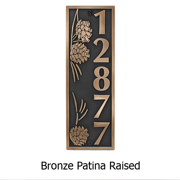 Pine Cone Vertical Plaque - Bronze Shown with Optional T30 Screws