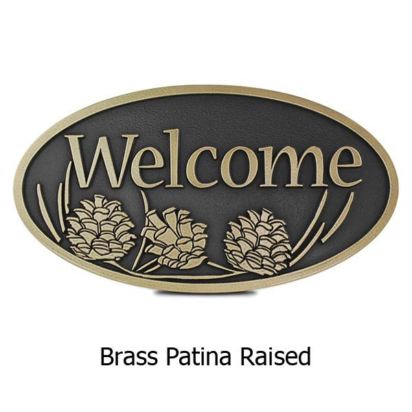 Pine Cone Welcome Plaque - Brass