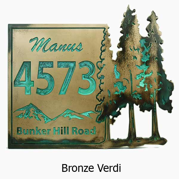 Pine Trees Up North Address Plaque - Bronze Verdi