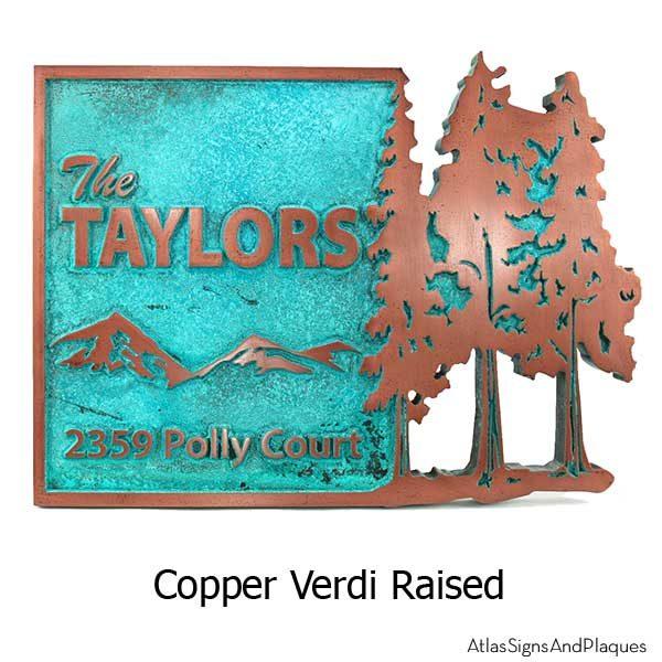 Pine Trees Up North Address Plaque - Copper Verdi