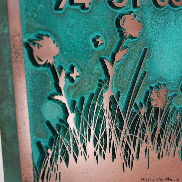 Pine Trees Up North Address Plaque - Copper Verdi Detail