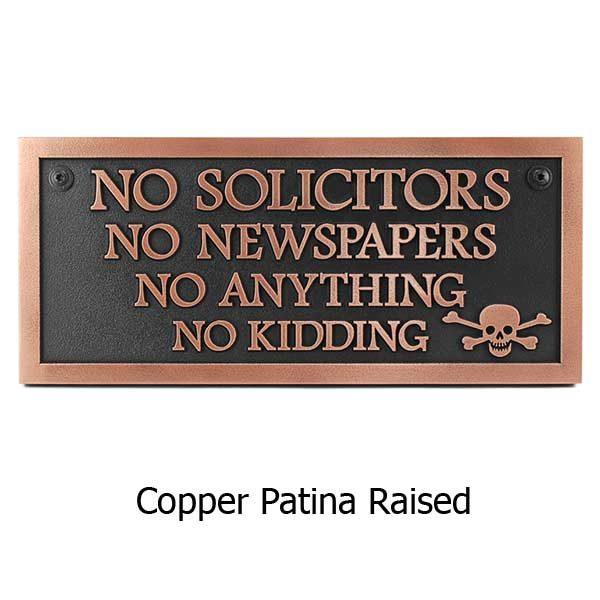 Rectangle No Solicitors Skull - Copper