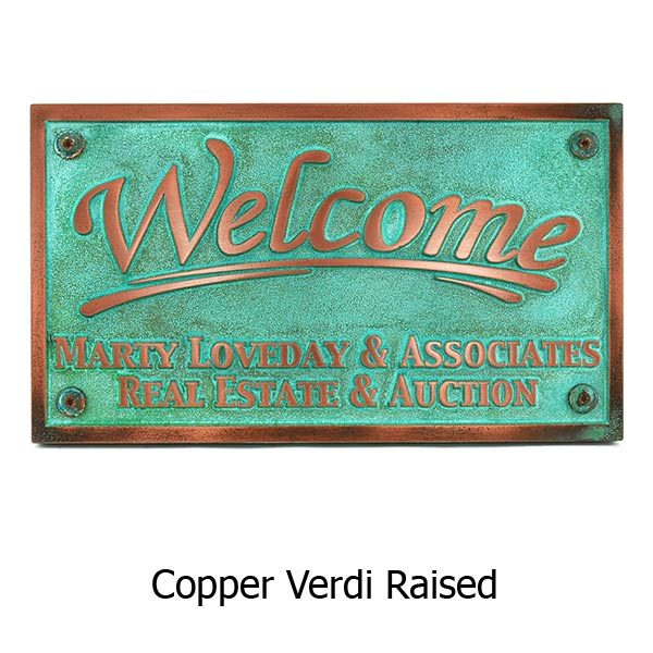 Rectangle Welcome Plaque - Copper Verdi Shown with Optional T30 Screws