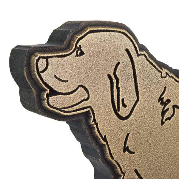 Dog Shaped Custom Canine Sign - Brass Retriever Detail