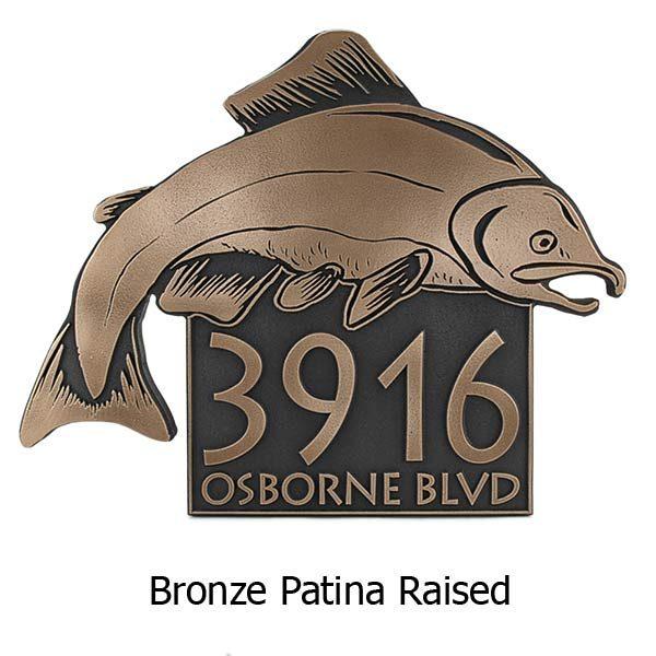 Salmon Fish Address Plaque - Bronze