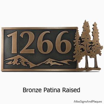 Pine Trees Up North Address Plaque - Bronze