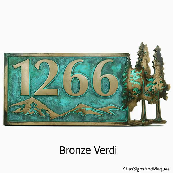 Pine Trees Up North Address Plaque - Bronze Verdi