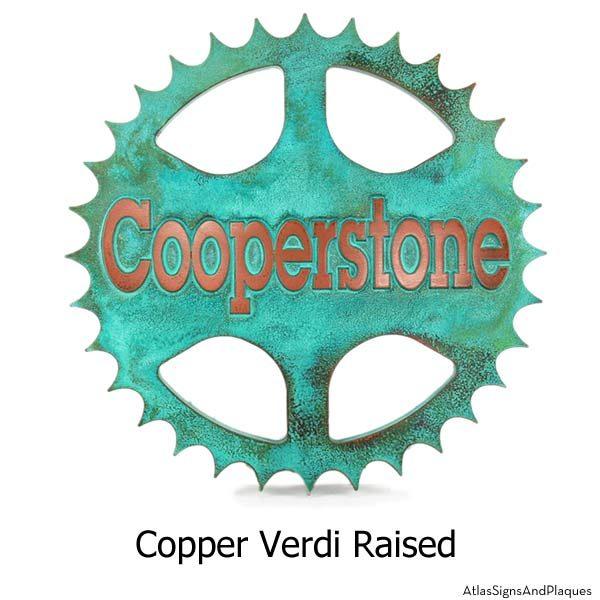 Sprocket Address Plaque - Copper Verdi