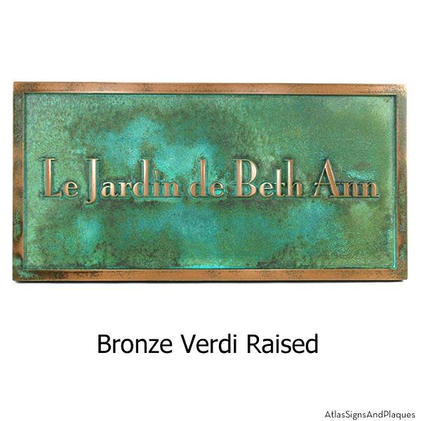 Stanton Plaque - Bronze Verdi