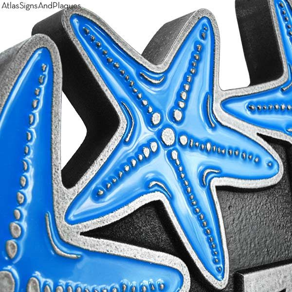 Starfish Oval Plaque - Pewter Detail with Painted Starfish Option