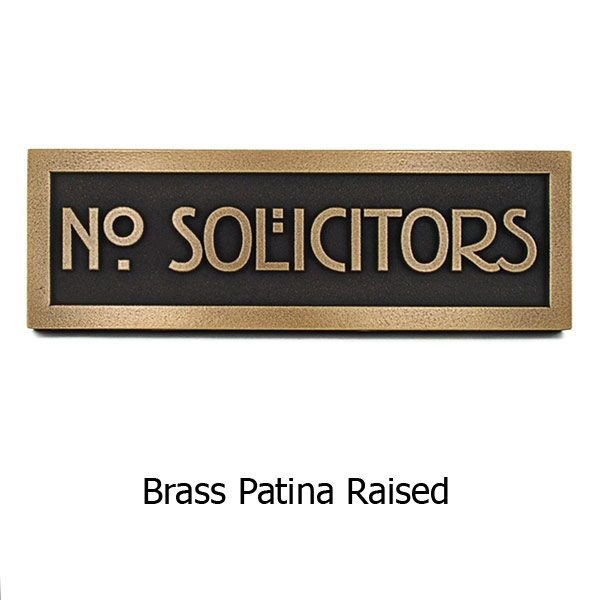 Stickley No Solicitors - Brass