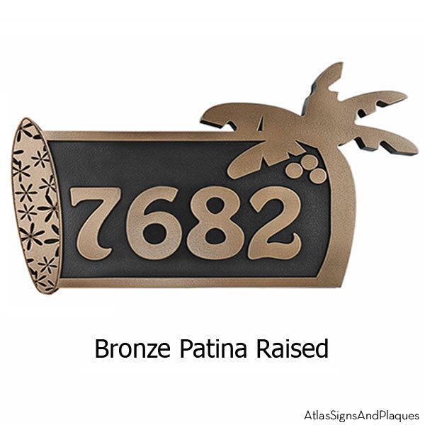 Surfboard Address Plaque - Bronze