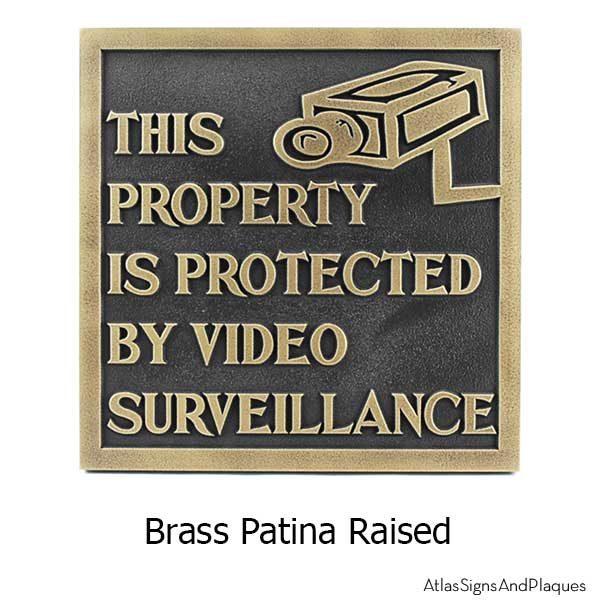 Under Video Surveillance Sign - Brass