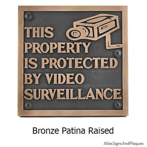 Under Video Surveillance Sign - Bronze Shown with Optional T30 Screws