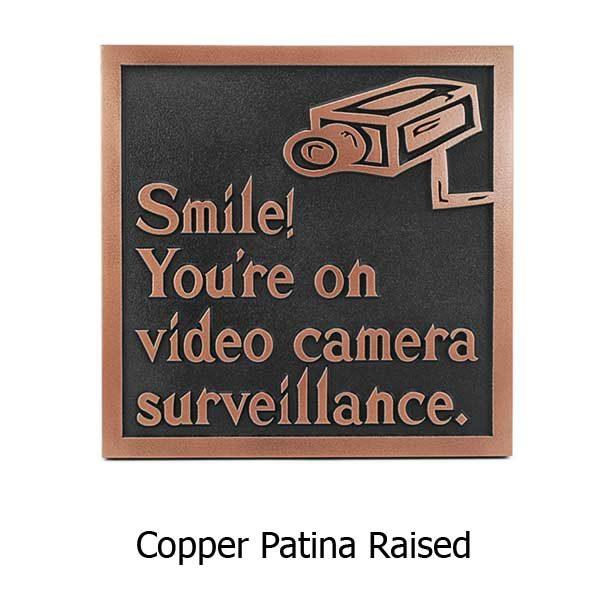 Under Video Surveillance Sign - Copper