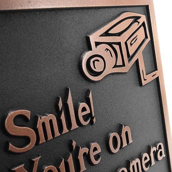 Under Video Surveillance Sign - Copper Detail