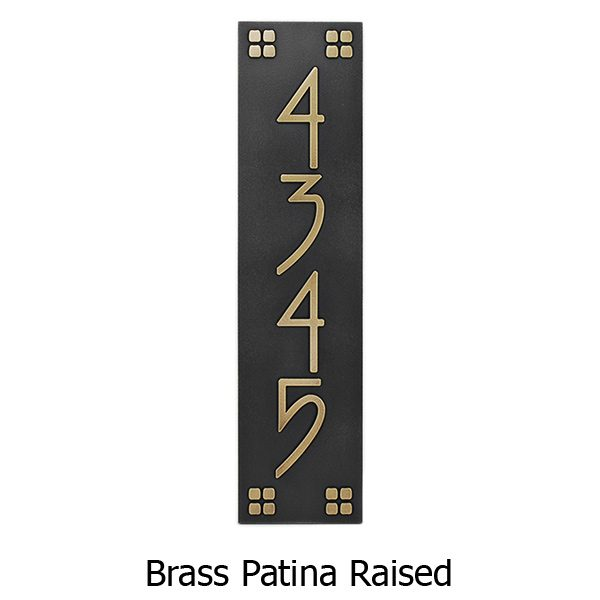 Vertical American Craftsman Home Numbers - Brass