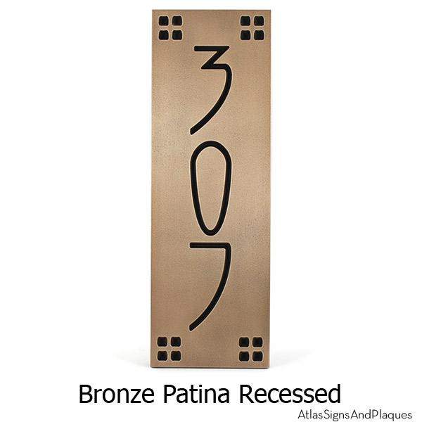 Vertical American Craftsman Home Numbers - Bronze