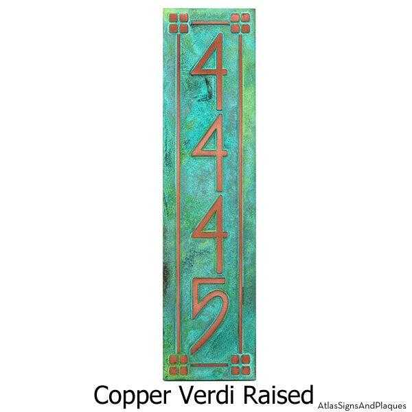 Vertical American Craftsman Home Numbers - Copper Verdi