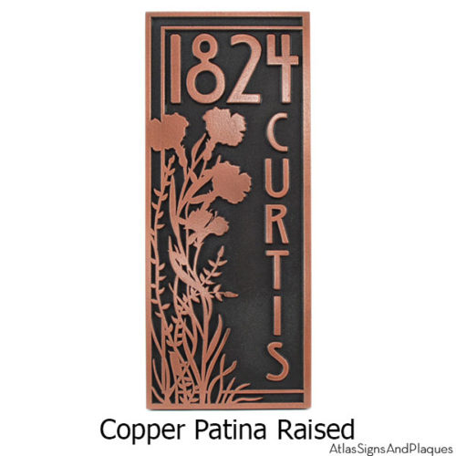 Vertical Poppy Address Plaque - Copper
