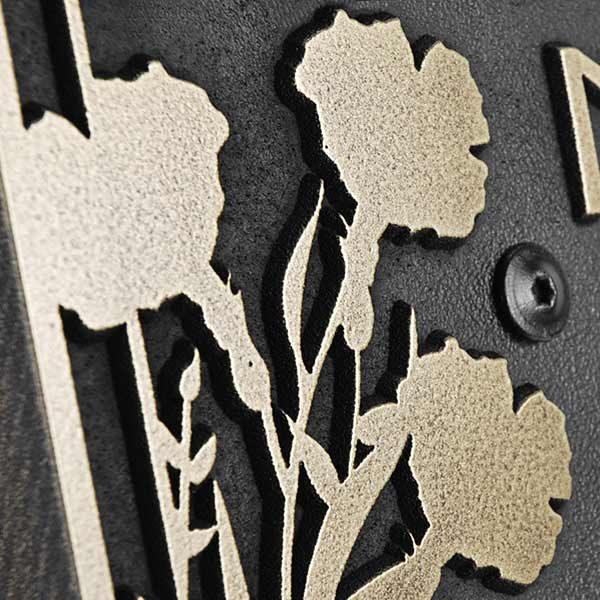 Vertical Poppy Address Plaque - Detail