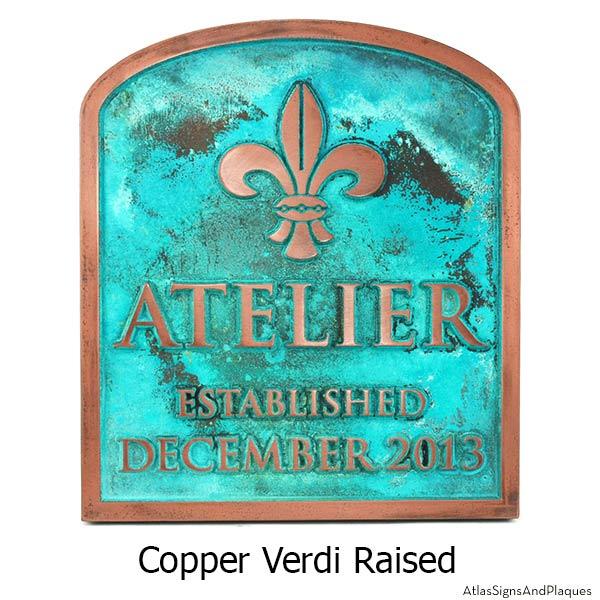 Wedding Fleur De Lis Plaque - Copper Verdi