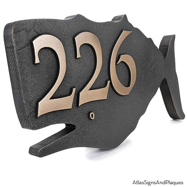 Whale House Numbers Plaque - Bronze