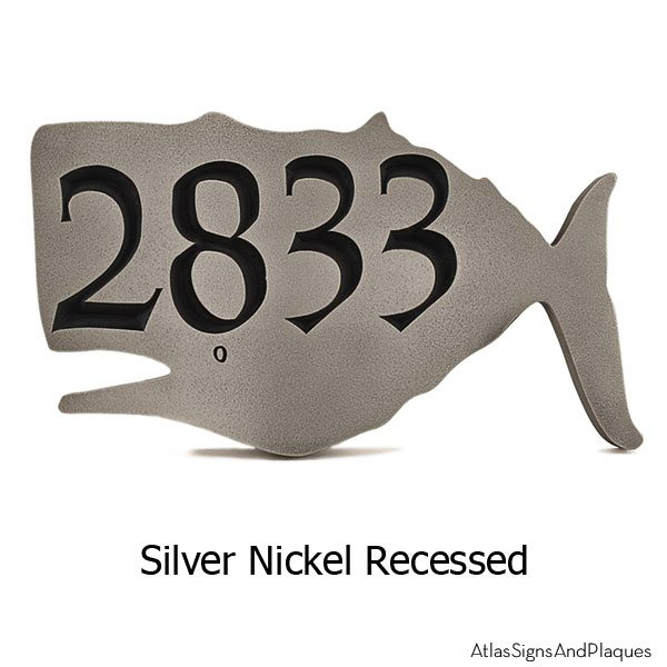 Whale House Numbers Plaque - Silver Nickel