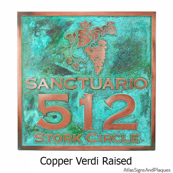Villa Sign - Copper Verdi