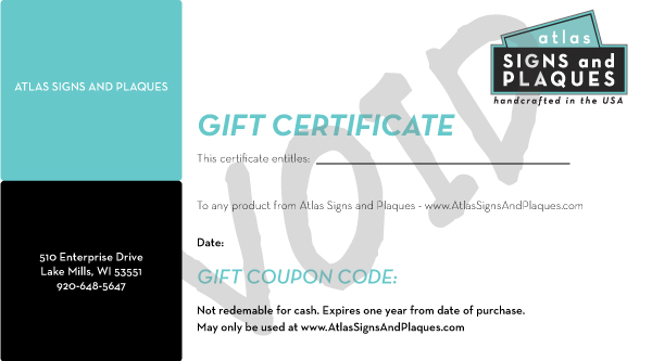 Atlas Signs and Plaques Gift Certificate