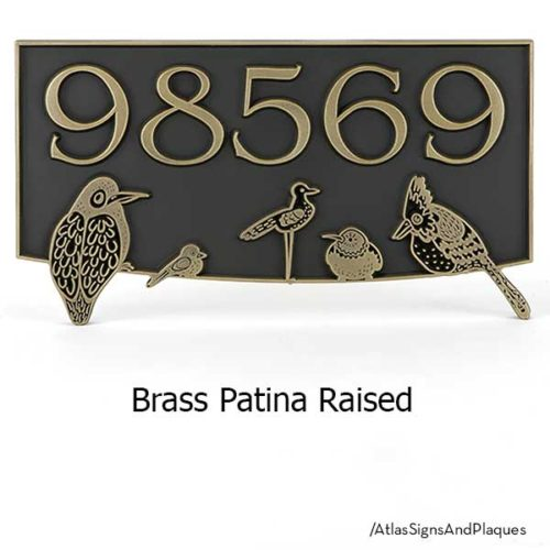Birds Block Party shown in Brass