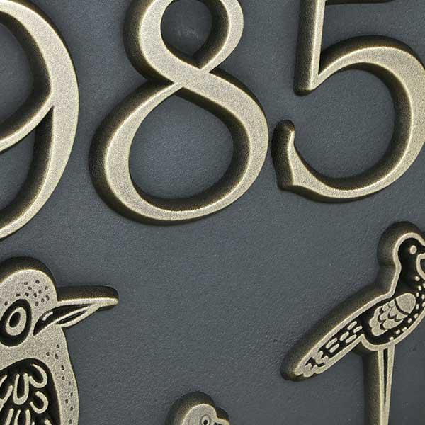 Birds Block Party shown in Brass Oblique