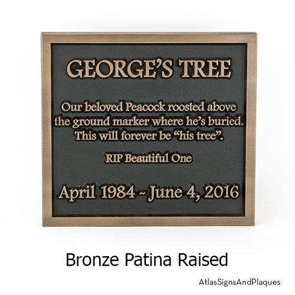 Almost Square Memorial Sign Raised Bronze