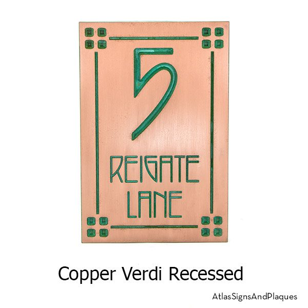 2 Number Craftsman, Recessed, Copper Verdi