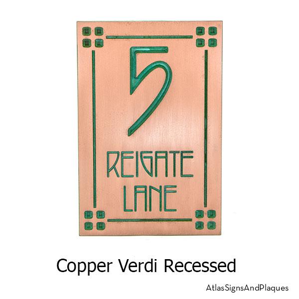 2 Number Craftsman, Recessed, Copper Verdi