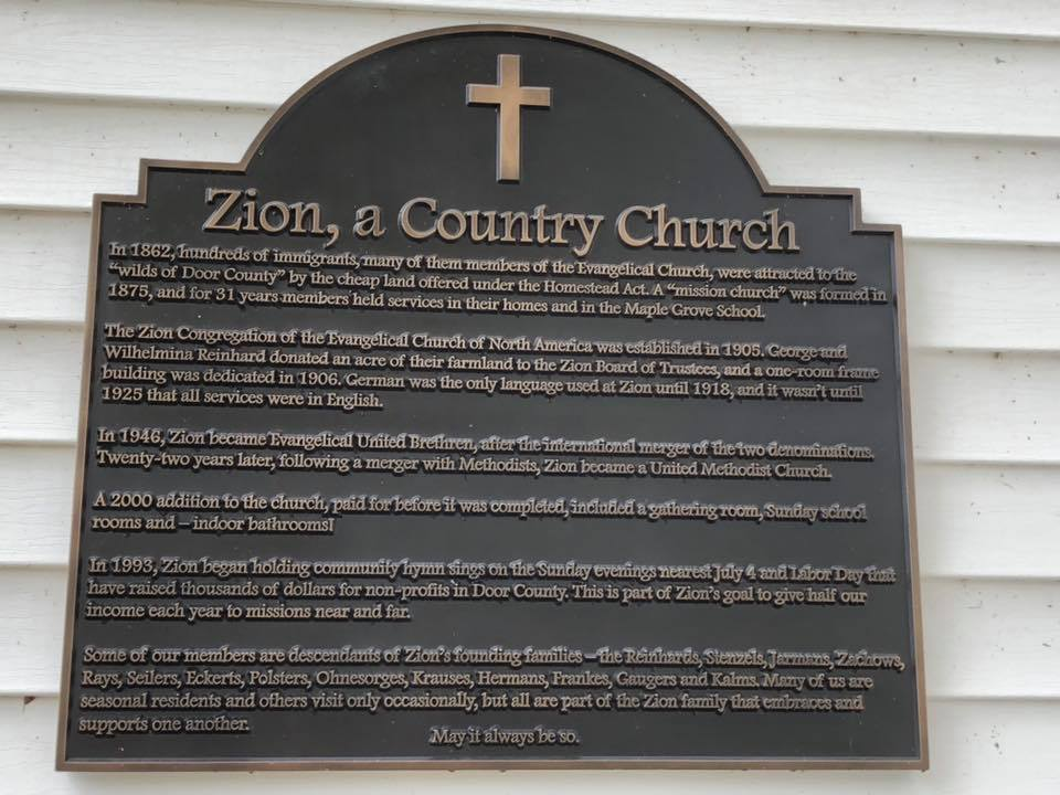 Beautiful Plaque Made for Zion Methodist Church