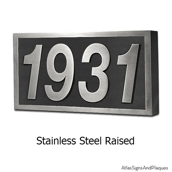 Stainless Steel Helvetica Address Plaque