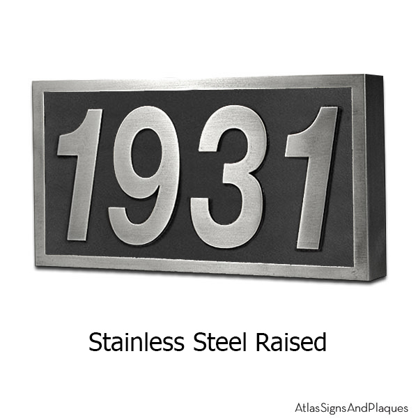 Stainless Steel Helvetica Address Plaque