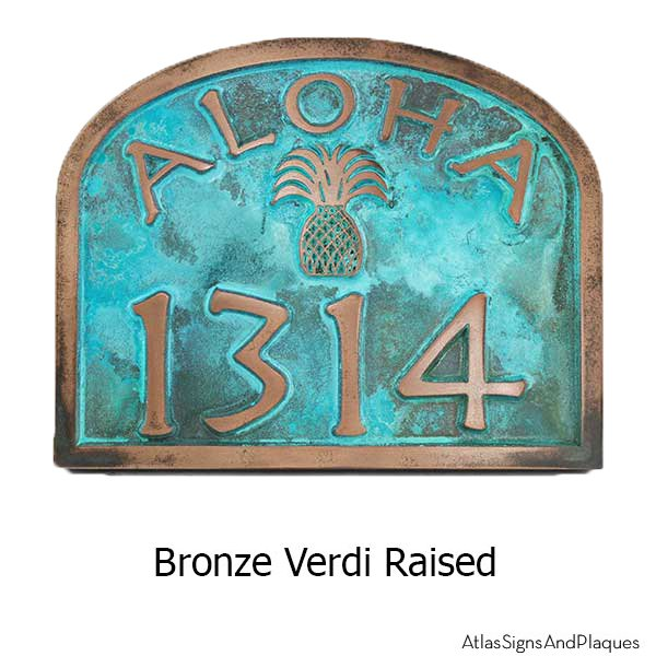 Bronze Verdi Aloha Address Plaque