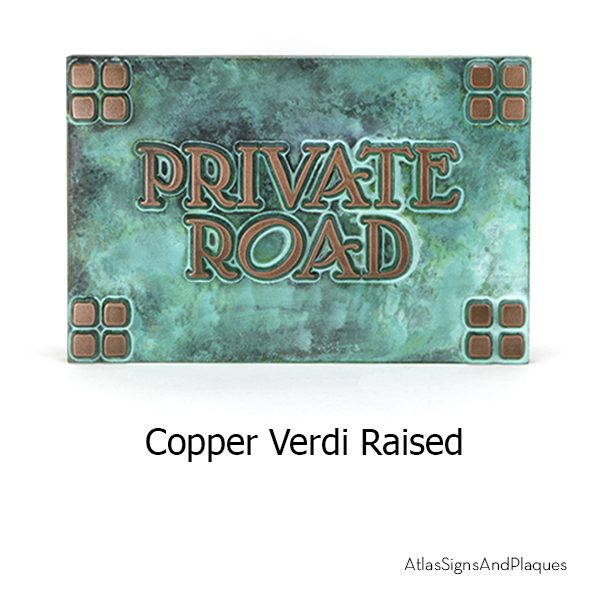 Arts and Crafts Era Plaque in Copper Verdi in Raised lettering style