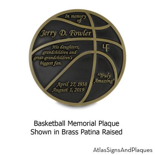 basketball memorial plaque