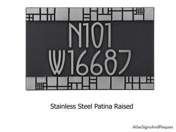 Batchelder Tile Address Plaque Raised Stainless Steel