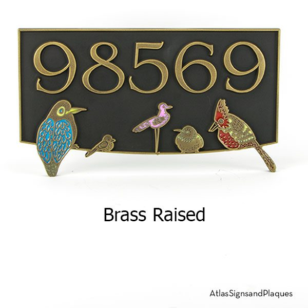 Bird Block Party Colored Raised Brass